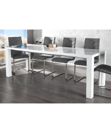 Stół biały lakierowany na wysoki połysk do kuchni salonu rozkładany 120 - 240 cm