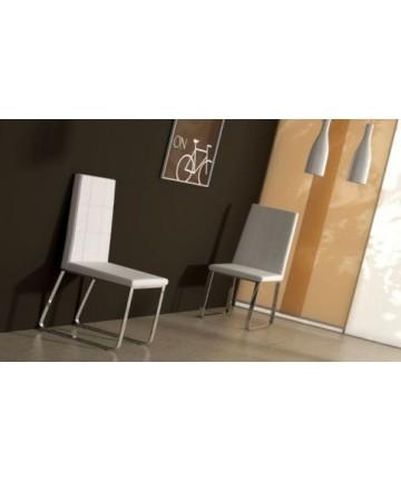 Krzesło Siena białe skórzane krzesło do salonu na płozach
