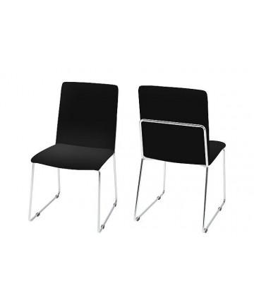 Krzesło Konchita Black czarne skórzane krzesło do jadalni