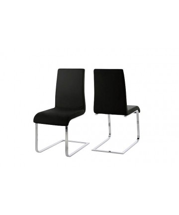 Krzesło Smart Black czarne skórzane krzesło na płozach