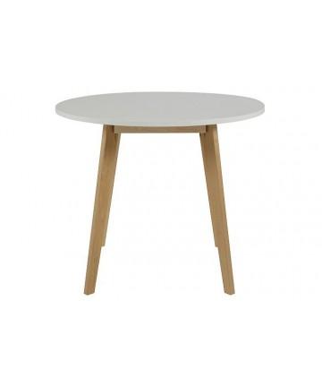 Stół Practical okrągły drewniany z białym blatem 90 cm - Actona