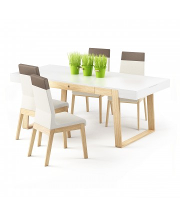 Stół Megi Mega biało dębowy z szufladami do kuchni jadalni 198 cm