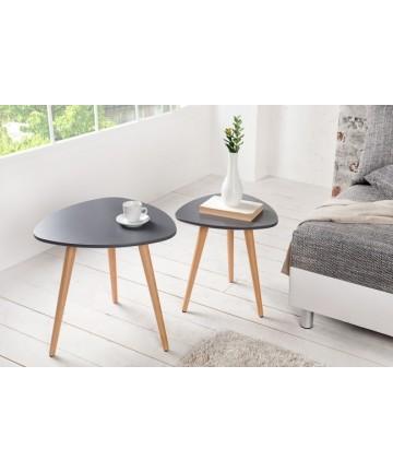 Stoliki Jula szare podwójne z drewnianymi nogami komplet ław w stylu skandynawskim