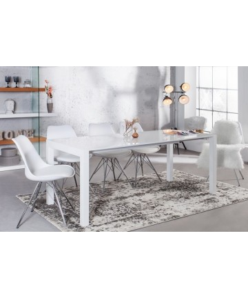 Stół biały lakierowany na wysoki połysk rozkładany do jadalni 140 x 215 cm