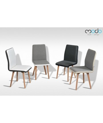 Krzesło Classic Duo Deluxe z lamówką drewniane nogi tkanina pastelowa