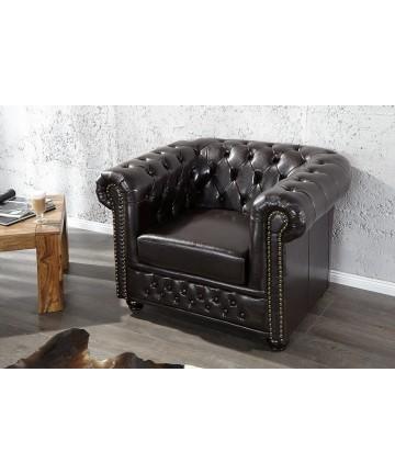 Fotel Luxury Chesterfield kawowy