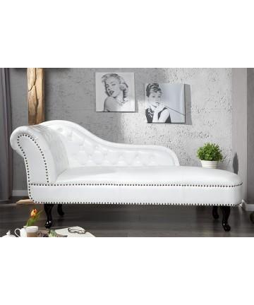 Szezlong Luxury Chesterfield biały pikowany