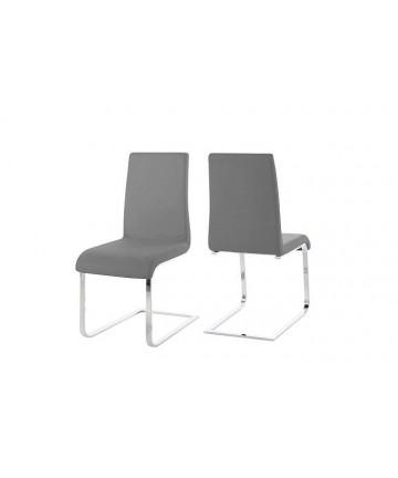 Krzesło Smart Szare skórzane krzesło na płozach