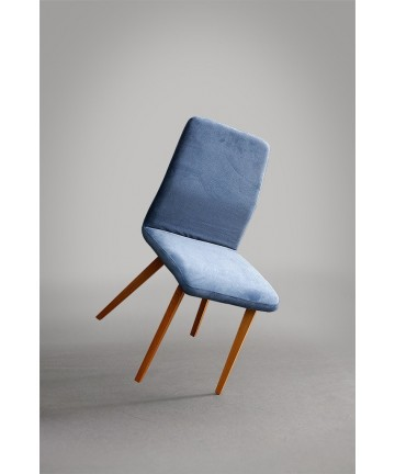 Krzesło Classic Fluff tapicerowane styl skandynawski nogi drewniane