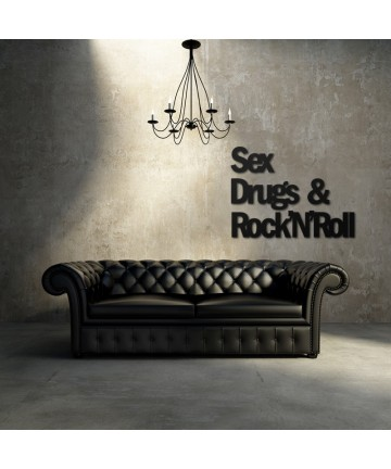 Napis na ścianę SEX DRUGS & ROCK'N'ROLL czarny dekoracja ścienna