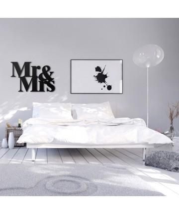 Napis na ścianę MR&MRS czarny dekoracja ścienna