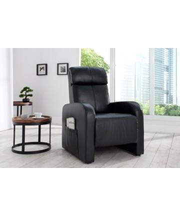 Fotel czarny Relaxi skórzany rozkładany