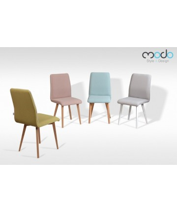 Krzesło Classic Deluxe z lamówką drewniane nogi tkanina pastelowa