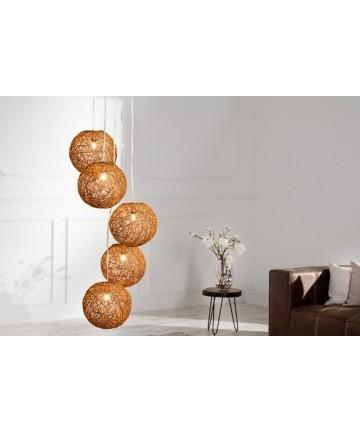 Lampa Little Sunset Brązowa cotton balls pleciona wisząca