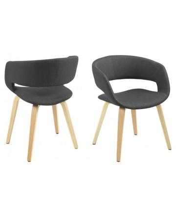 Krzesło Malibu Natur Dark Grey na drewnianych nogach krzesła w tkaninie