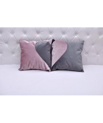 Poduszka szaro różowa komplet 2 poduszek z sercem dekoracyjna dwustronna 40x40