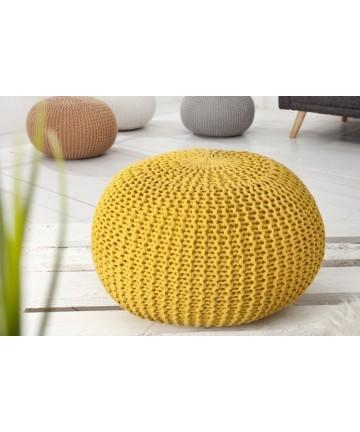 Pufa Cotton Żółta okrągła pleciona