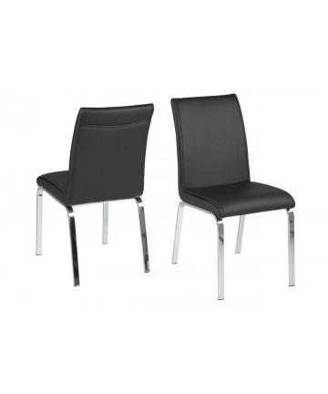 Krzesło Leo Czarne nogi chromowane
