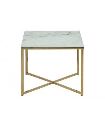 Stolik Marbel złoty szklany marmurowy