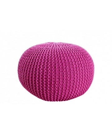 Pufa Cotton Różowa okrągła pleciona dziergana