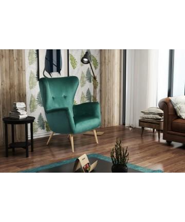 Fotel Uszak Ore pikowany skandynawski tapicerowany nowoczesny