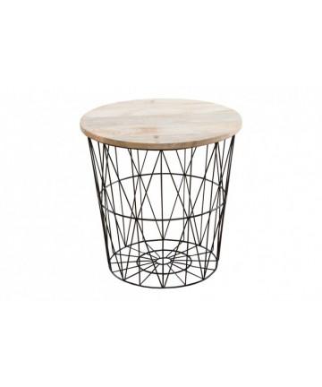 Stolik Safe 52 czarny metalowy ze schowkiem designerski z wyciąganym drewnianym blatem