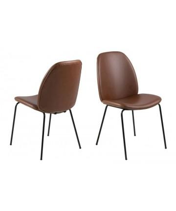 Krzesło Sonet Brązowe antyczna skóra nogi czarne