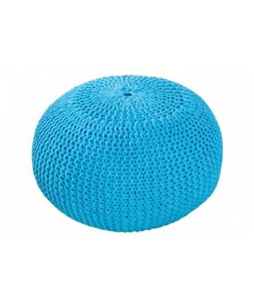 Pufa Cotton Niebieska okrągła pleciona dziergana