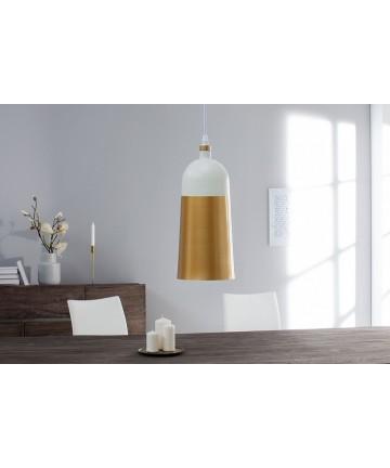 Lampa Agnes Long Biało Złota wisząca do salonu jadalni