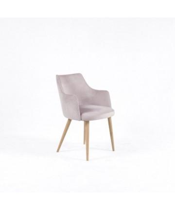 Krzesło GLAM Dąb z podłokietnikami tapicerowane dowolny kolor
