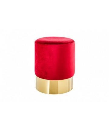 Stołek Barocco Czerwony 35 velvet podstawa złota okrągłe siedzisko puf