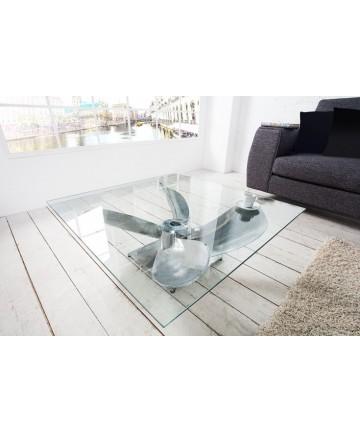 Ława Szklana podstawa śmigło aluminiowa nowoczesna designerska