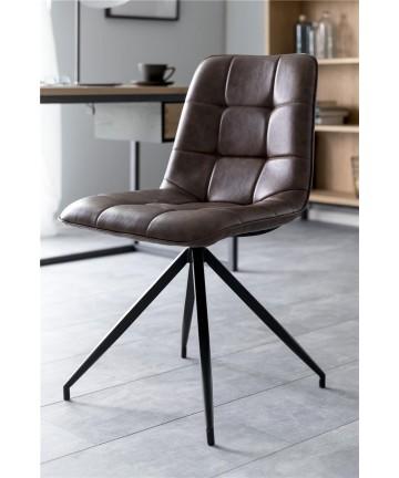 Krzesło Cap brązowa skóra