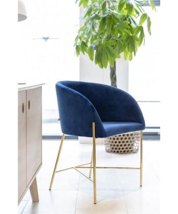 Krzesło Nel granatowy aksamit nogi złote