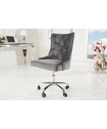 Krzesło biurowe Queen szary aksamit