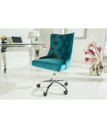 Krzesło biurowe Queen turkusowy aksamit