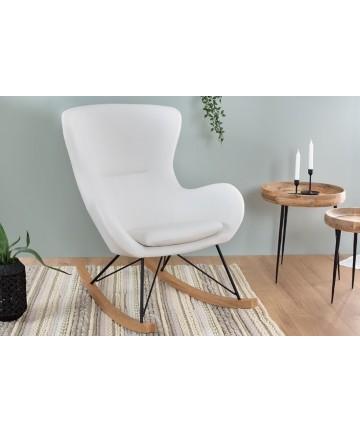 Fotel Jula Swing Biały skórzany