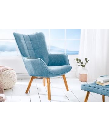Fotel Jula niebieski z podłokietnikami