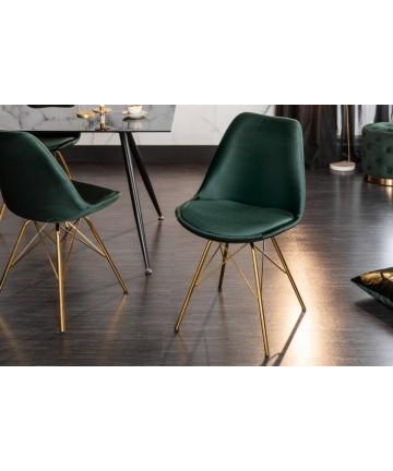 Krzesło Jula butelkowa zieleń noga złota