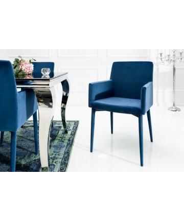 Krzesło niebieskie z podłokietnikami
