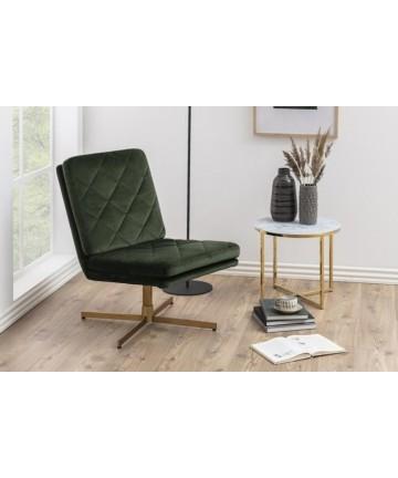 Fotel Gustavo Velvet butelkowa zieleń mosiądz
