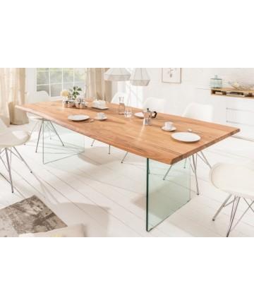 Stół z litego drewna 200 nogi szklane