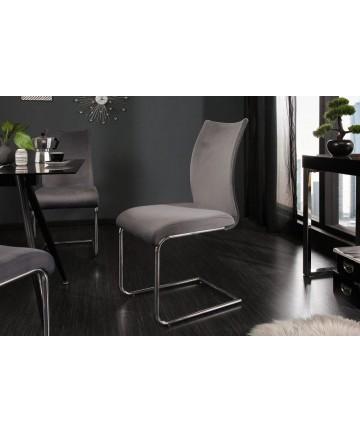 Krzesło Party szare velvet na płozach