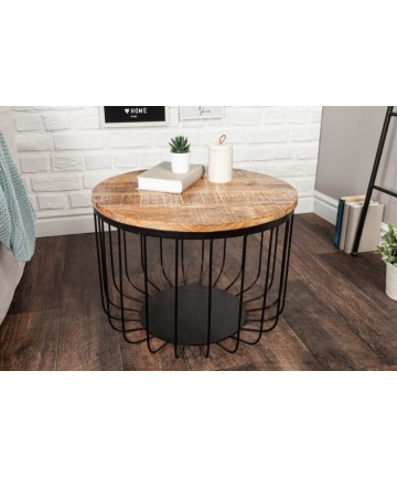 Metalowy stolik z drewnianym blatem 56