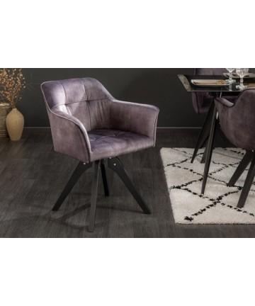 Welurowe szare krzesło z podłokietnikami