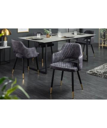 Nowoczesne szare krzesło do jadalni