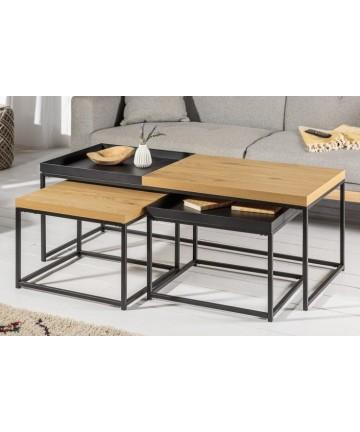 Funkcjonalny komplet loftowych stolików