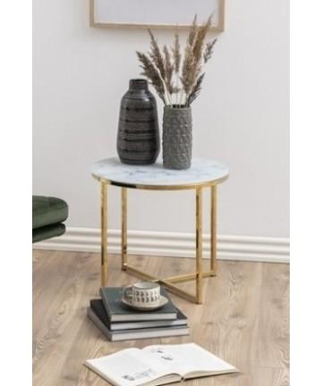 Stolik Marbel Ring złoty szklany stolik