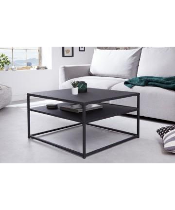 Czarny kwadratowy stolik z półką