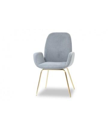 Wysokie krzesło tapicerowane nogi złote